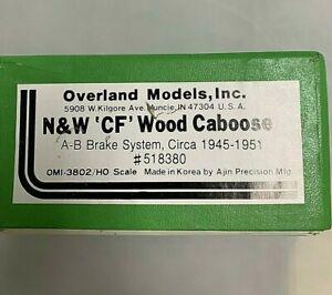 OVERLAND MODELS N&W CF WOOD CABOOSE BRASS TRAIN HO circa 1945-1951