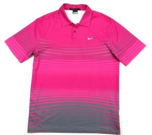 Nike Golf Tiger Woods TW Gradient Stripe Pink Gray Polo Shirt Medium