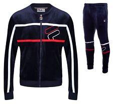 FILA Mens Velour Full Zip Track Top, or Velour Jog Pants Blue Mix Match Suit