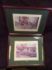 THE PINK OF CONDITION ENGLISH FOX HUNT PRINT FRAMED GEORGE WRIGHT SET OF 2