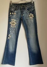 BLUE BOOT CUT JEANS 28 DENIM HIPPIE FESTIVAL SHELLS SUMMER CASUAL TOWIE FASHION