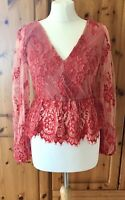 NWT Red Top Sz 12 Top Shop Lace Cropped (RRP £42) Elegant  Boho Party Glam Event