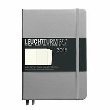 LEUCHTTURM Planner Settimanale 2018 A5/Diario Notebook argento metallizzato (NUOVO, SIGILLATO)