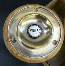 """Traditional Polished Brass Door Bell Push with Ceramic Button - 4"""" diameter"""