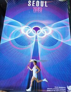 Original Poster from Seoul Olympics with Torch Bearer, 1988