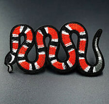 Milk Snake Red White Embroidered Iron On Sew On Patches Badges Transfers Patch