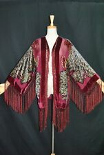 Classic Burgundy Peacock Hippie Burnout Kimono Fringe Jacket Velvet Coat short