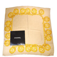 Authentic CHANEL CC Logo XL JUMBO Scarf Handkerchief 100% Silk Brown 61SB193