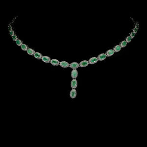 Unheated Oval Emerald 6x4mm Cz White Gold Plate 925 Sterling Silver Necklace 17i