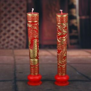 1 Pair Exquisite Carving Golden Dragon and Phoenix Pattern Wedding Red Candle