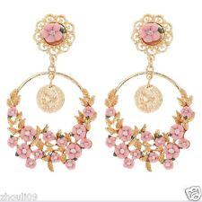 New Woman Elegant flower crystal Rhinestone long Ear Studs hoop earrings 831