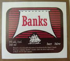 VINTAGE CANADIAN BEER LABEL - UPPER CANADA BREWERY, BANKS BEER 341 ML