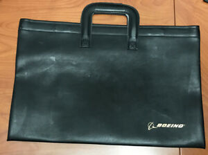 Vintage Black Boeing Attache File Carrier Flat Briefcase w/ Handles & Hinged