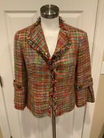Lafayette 148 New York Multicolor Tweed Jacket w/ Fringe Trim, Size 4