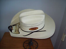 ADULT BRONCO WESTERN STYLE STRAW HAT SIZES 53-62 OFF WHITE