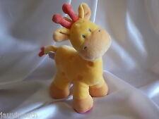 Doudou girafe, jaune,orange, Pommette