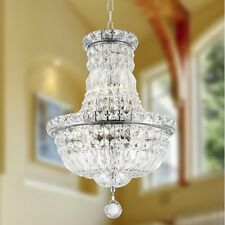"6-Lights Chrome Finish 12"" x 16"" Empire Clear Crystal Pendant Chandelier Light"