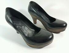 Firetrap womens black leather mid heel shoes uk 7 eu 40