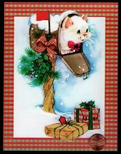 Vintage White Kitten Cat Mail Box Presents Snow - Christmas Greeting Card Unused