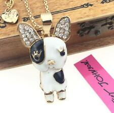 Enamel Jewelry Betsey Johnson charm pendant dog rhinestone golden chain necklace
