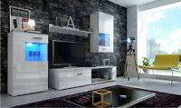 Living room furniture set TV unit cabinet glass display shelf high gloss LED