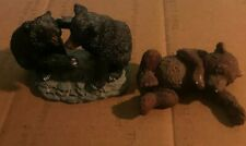Three adorable Bear Figurines two unmarked Black Bears Fighting; One Brown Bear