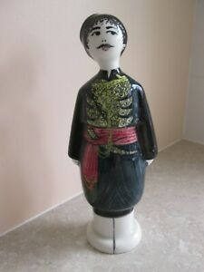 VINTAGE GREEK POTTERY FIGURE IN TRADITIONAL DRESS - CRETE - SIGNED