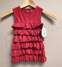 Burt's Bees Kids Organic Cotton Sun-Bleached Tiered Ruffle Tank in Red size 4T