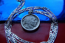 "Americana 1936-1937 Buffalo Nickel Pendant on a 30"" 925 Sterling Silver Chain"