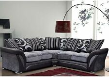 new shannon farrow corner in leather and chenille fabric black grey brown beige