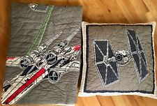 Pottery Barn Kids X-Wing and TIE fighter Star Wars Quilt Comforter Euro Sham