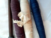 4 Antique Wooden Textile Thread Spool Yarn Weaving Spinning Spindle Bobbins 9""