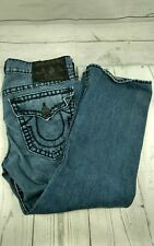 "AUTHENTIC TRUE RELIGION Ricky Super T Men's Jeans W/ Flaps 36x28 ""37"" Black Tag"