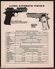 1978 LLAMA Blue Engraved & Deluxe Gold Damascened Automatic Pistol AD w/ specs