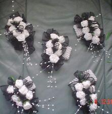 LADIES BEAUTIFUL HANDMADE  WRIST CORSAGES IN BLACK/WHITE