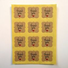 48x Thank You Square Frame Stickers 2.5cm