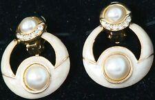 "NEW 1981 Vintage EARRINGS w. IVORY ""Enamel"" & PEARLS Clip-On 207 $18 Retail 1981"