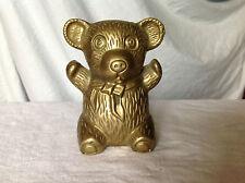 "Vintage ""Arms Up"" Brass Teddy Bear Bank"