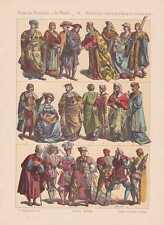 Niederländer Holländer Mode Trachten LITHOGRAPHIE von 1883 Mittelalter