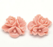 Pink Resin Flower Embellishments Jewelry Making Findings 16x16mm