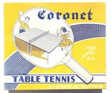 Vintage 1950'S Coronet TABLE TENNIS / PING PONG Set ( Paddles, Net, Clamps) NOS