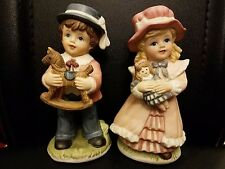 Homco Pair of Porcelain Boy and Girl Figurines #1419