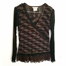 Alberto Makali Wool Top Sz Small Brown Print Ruffled Stripe V-Neck Long Sleeve