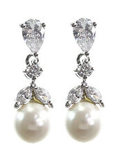 CZ Faux Pearl Dangle Drop Silver Tone New Bridal Wedding Prom Evening Earrings