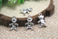 30pcs Teddy bear Charms Antique Tibetan silver Teddy bear pendants 11x17mm