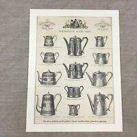 1880 Antik Aufdruck Versilbert Teekannen Werbe Original Viktorianisch Werbung