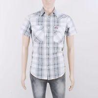 Crosshatch Mens Size XS S Grey Check Short Sleeve Shirt