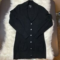 Lord & Taylor Sz XS 100% Cashmere Black Cardigan Button Up Sweater Women's Long