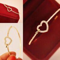 Fashion Women Jewelry  Crystal Love Heart Gold Plated Charm Cuff Bangle Bracelet