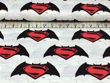 SUPERMAN LOGO   BATMAN  Vs SUPERMAN CAMELOT PREMIUM  COTTON    FAT QUARTER
